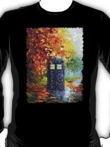 Autumn British Blue phone box painting T-Shirt