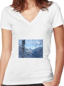 Winter scene Women's Fitted V-Neck T-Shirt