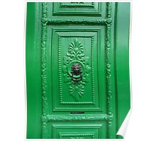 Black Lion Head Knocker on Ornate Emerald Green Door Poster