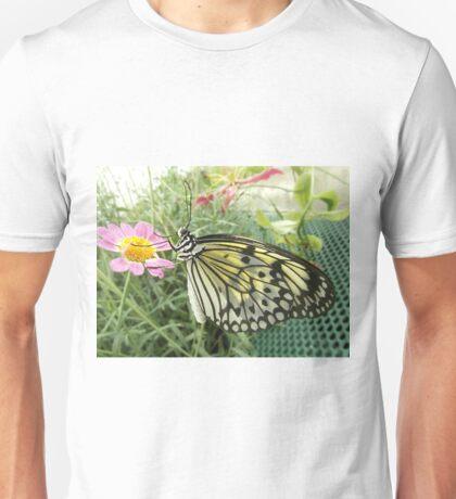 Butterfly On A Pink Flower Unisex T-Shirt