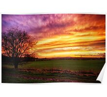 Rural Sunset Burst  Poster