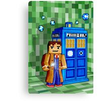 8bit blue phone box with space and time traveller Canvas Print