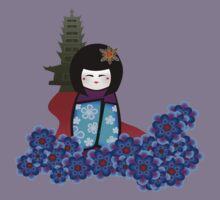 kokeshi with pagoda Kids Clothes
