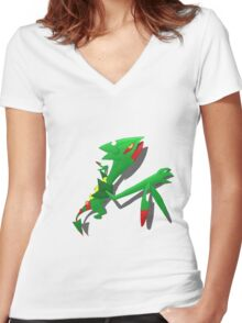Climbing Sceptile Women's Fitted V-Neck T-Shirt