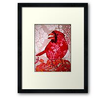 Red Bird Sitting on a Wall Framed Print