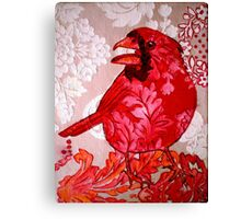 Red Bird Sitting on a Wall Canvas Print