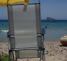 On the Beach At Benidorm Spain by Allen Lucas