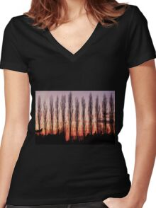 Winter Evening Sky Women's Fitted V-Neck T-Shirt