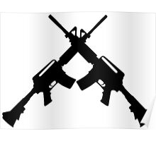 Machine Guns Crossed, Silhouette Poster
