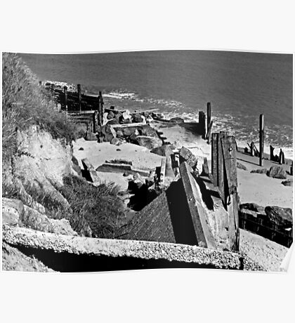 Collapsed concrete ramp at Happisburgh Norfolk in Monochrome Poster