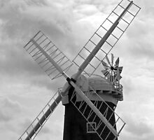A Wind Pump, Horsey Norfolk, in monochrome,  by johnny2sheds