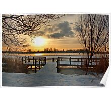 Wintermorning near the lake Poster