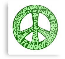 Green peace sign world languages  Metal Print