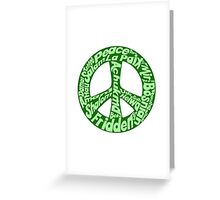 Green peace sign world languages  Greeting Card