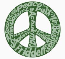 Green peace sign world languages  One Piece - Long Sleeve
