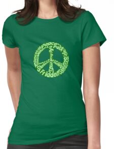 Green peace sign world languages  Womens Fitted T-Shirt