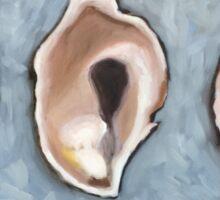 Three Oyster Shells, still life, Oil Painting, by Velma Serrano Sticker