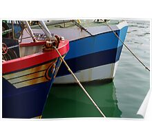 Red and blue Boats Poster