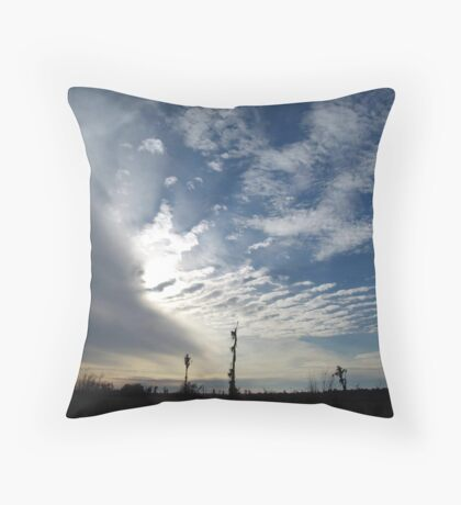 Blowing the Feathers Away Throw Pillow