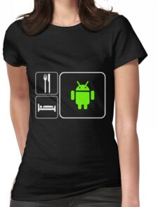 Food Sleep Android Womens Fitted T-Shirt