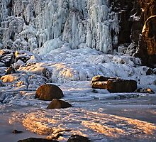 Frozen waterfall Oxararfoss - Thingvellir National Park in Iceland by Marketa Kalvachova