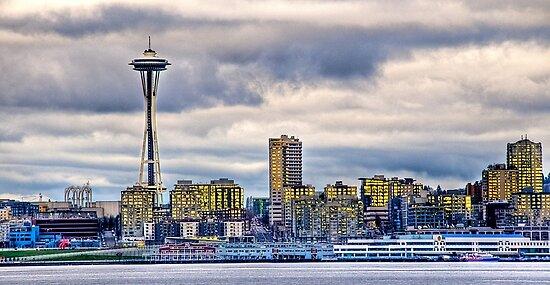 Seattle Washington space needle in HDR by Jeffrey  Sinnock