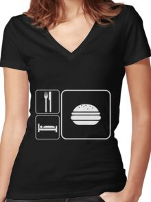 Food Sleep Cheeseburgers Women's Fitted V-Neck T-Shirt