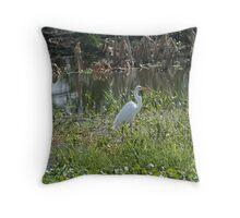 White Egrets Throw Pillow