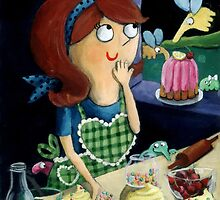Little Girl's Kitchen and cute flying monsters by colonelle