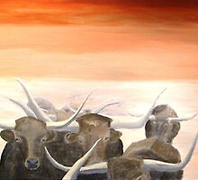 Burnt Orange Longhorns Abstract by Jim Lively