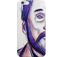 Bearded Old Man Made Of Red And Blue Lines iPhone Case/Skin