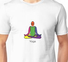 Painting of lotus yoga pose with yoga text. Unisex T-Shirt