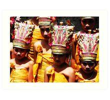 Balinese girls in ceremonial costumes Art Print