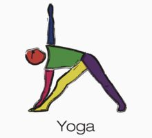 Painting of triangle yoga pose with yoga text. Kids Tee