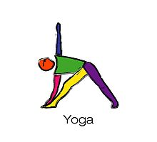Painting of triangle yoga pose with yoga text. by Mindful-Designs