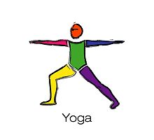 Painting of warrior 2 yoga pose with yoga text. by Mindful-Designs