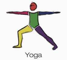 Painting of warrior 2 yoga pose with yoga text. Kids Clothes