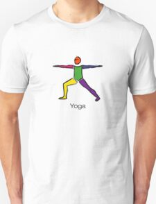 Painting of warrior 2 yoga pose with yoga text. Unisex T-Shirt