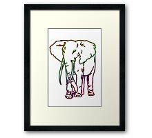Rainbow Elephant Design Framed Print