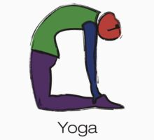 Painting of cobra yoga pose with yoga text. Kids Clothes