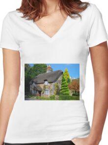 Ashwell Lodge, Devon Women's Fitted V-Neck T-Shirt