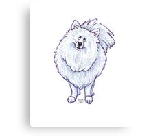 Animal Parade White Pomeranian Canvas Print
