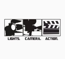 Lights.Camera.Action. Movie Maker T-Shirt by CroDesign