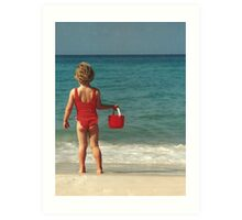 Girl with Red Bucket Art Print