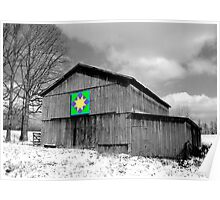 Barn with Quilt Pattern Poster
