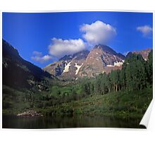 Maroon Bells and Low Clouds Poster