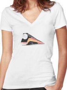 Retro Train Women's Fitted V-Neck T-Shirt