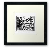 Death and the Maiden - woodcut Framed Print