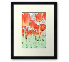 Art style digital sketch red tulip flowers photography.  Framed Print