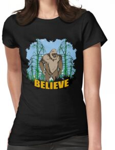Believe in Bigfoot 2 Womens Fitted T-Shirt